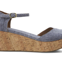 BLUE CHAMBRAY WOMEN'S PLATFORM WEDGES