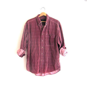 20% OFF SALE / Vintage corduroy shirt / Grunge Shirt / Boyfriend button up shirt / Eddie Bauer