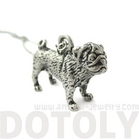 3D Detailed Pug Shaped Dog Lover Animal Charm Necklace in Silver