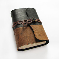 Handmade Leather Journal with leather chain closure by ArtStitch