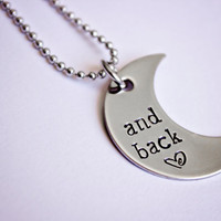 And back moon shaped hand stamped by StampedMemoriesbyMel on Etsy