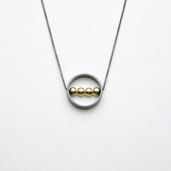 Oxidized Sterling Silver Karma Circle Ring Necklace with Gold Filled Beads - Simple Modern Minimalist Jewelry - Black Silver Delicate Chain