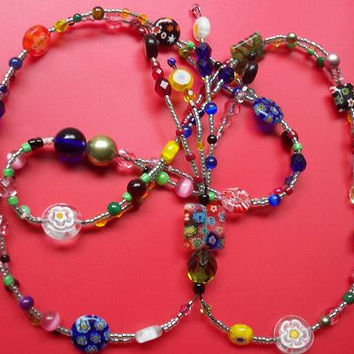 Colorful Necklace , Beaded Necklace , Millefiori Necklace, Kaleidoscope, Multicolor Necklace