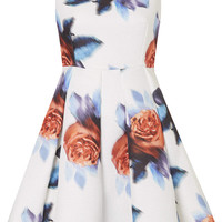 Digital Floral Print Bardot Dress