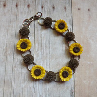Sunflower and Dahlia Chainlink Bracelet Summer Hippie Inspired Bracelet Gifts Under 20 Flower Girl Rustic Chic Wedding