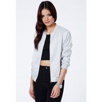Missguided - Gyanda Satin Feel Bomber Jacket In Silver