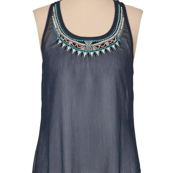 blue embroidered bead flyaway tank
