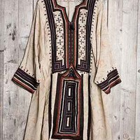 Vintage Light + Dark Embroidered Dress - Urban Outfitters