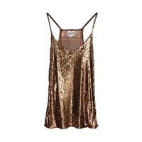 REISS Womens Millie Bronze Sequin Cami