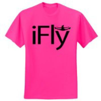 Hot Pink iFly T-Shirt-Black Print