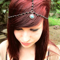 Turquoise beaded head chain black beaded head chain by byuma
