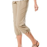 Motherhood Maternity: Under Belly Poplin Cargo Pockets Maternity Crop Pants
