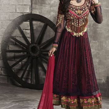 Maroon Net Long Anarkali Suit