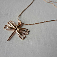 Rose Gold Dragonfly Necklace by EudaimoniaJewelry on Etsy