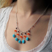 Turquoise and Orange Necklace by FantasyBeadDesigns on Etsy