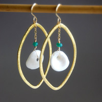 Nalukea earrings  white puka shell brushed gold by kealohajewelry