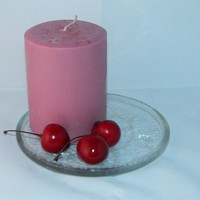 Strong Black Cherry Scented Round Pillar Candle Dark Pink Handmade | shymouseecrafts - Candles on ArtFire