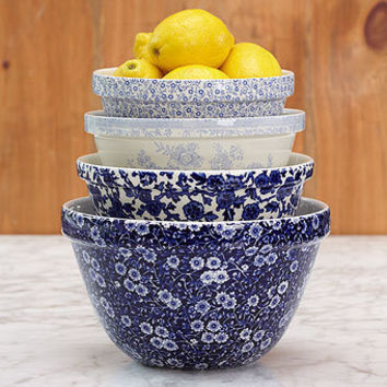 Cobalt Mixing Bowls | Burleigh | Stonewall Kitchen - Specialty Foods, Gifts, Gift Baskets, Kitchenware and Kitchen Accessories, Tableware, Home and Garden Décor and Accessories