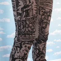 Gray Witch Leggings SMALL by PrettySnake on Etsy