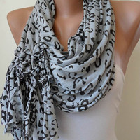Light Grey and Black Leopard Scarf