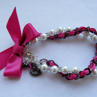 Pink and Pearl Bow Bracelet by FantasyBeadDesigns on Etsy