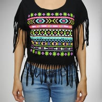 Aztec Fringe Dolman Junior Fitted Tee