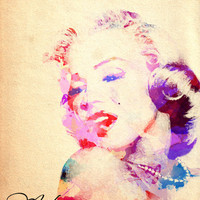 Marilyn Monroe Digital Watercolor by PigmentPunch on Etsy