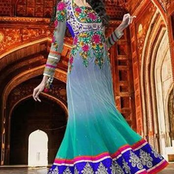 Teal Net Party Wear Designer Anarkali