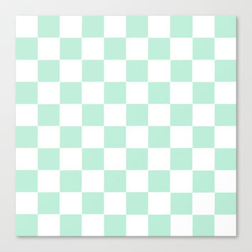 Checkers Square Mint Green Stretched Canvas by BeautifulHomes | Society6