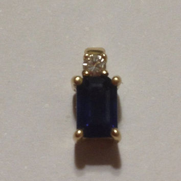 ON SALE 14K Sapphire Diamond Pendant Yellow Gold 1 Carat Ct Blue Sparkly Vintage Jewelry Holiday Mother's Birthday Anniversary Gift