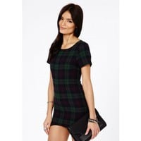 Missguided - Chailai Flannelette Plaid Shift Dress In Deep Green