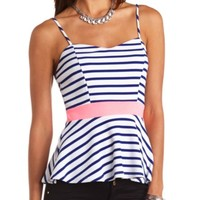 TEXTURED STRIPED PEPLUM TOP