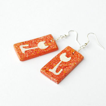Orange earrings. White cat earrings. Cat charm. Terracota earrings. Kitty charm jewelry. Sitting cat figure on rectangular pendant.