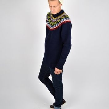 Fred Perry British Knitting Fairisle Turtle Neck Knit K3240 - Navy
