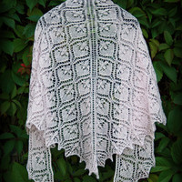 """Hand knitted fine lace luxurious old pink triangle shawl """"Waterlily"""".  Ready to ship"""