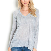 V NECK LONG SLEEVE CONTRAST KNIT TOP