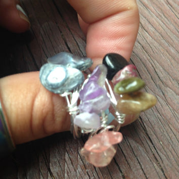 Amethyst, Rose Quartz, Jet Dyed Pearl, Semi Precious, Howlite Wire Wrapped Ring