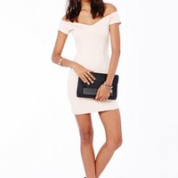 Missguided - Shirley Bardot Bodycon Mini Dress In Nude
