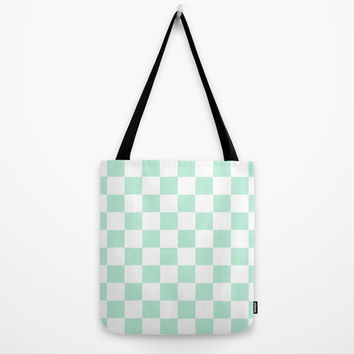 Checkers Square Mint Green Tote Bag by BeautifulHomes | Society6