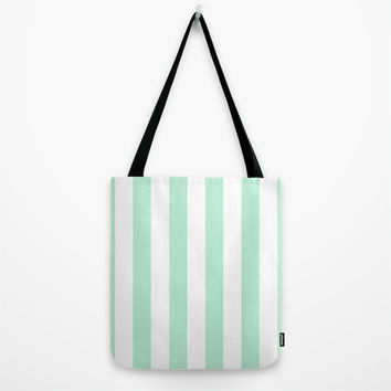 Stripe Vertical Mint Green Tote Bag by BeautifulHomes | Society6