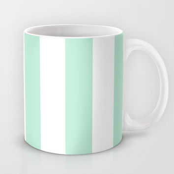 Stripe Vertical Mint Green Mug by BeautifulHomes | Society6