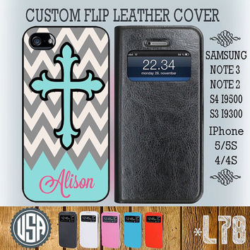 Customize Name Mint Cross Chevron Flip Leather Cover @ IPhone 5 5S IPhone 4 4S Samsung Galaxy S4 Case S3 Samsung Note 3 Galaxy Note 2 L78