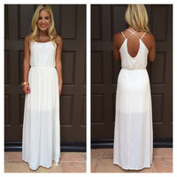 Oleander Lace And Gauze Maxi Dress - IVORY