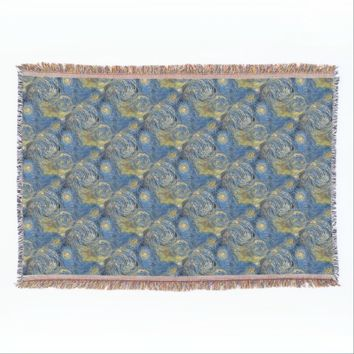 Starry Sky Blue Throw Blanket