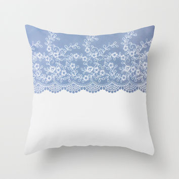 Lace #Blue Throw Pillow by Armine Nersisian
