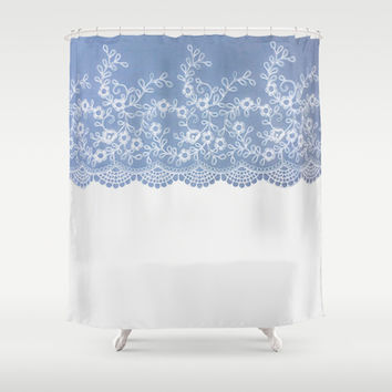 Lace #Blue Shower Curtain by Armine Nersisian