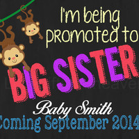 Big Brother/Sister Monkey Announcement- monkey brother, chalkboard pregnant, big brother sign, we're pregnant print, expecting photo prop