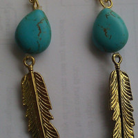 Boho Hippie Turquoise Stone and Feather by allthingswildandfree