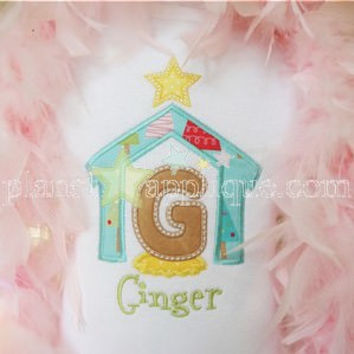 Christmas Manger Font Applique Personalized Custom Tee Shirt - Customizable -  Infant to Youth