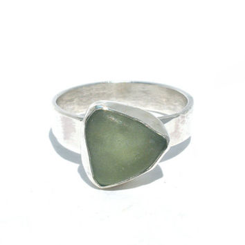 Seafoam Beach Glass Ring in Size 5.5- Natural Sea Glass From Lake Erie